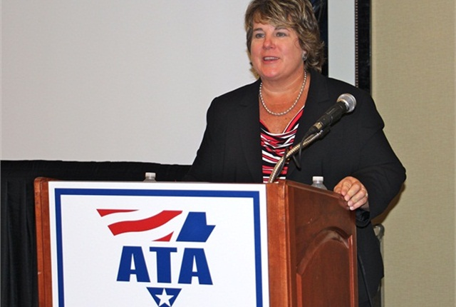 ATRI President and COO Rebecca Brewster delivering the results of a survey of top trucking industry concerns. Photo: Evan Lockridge