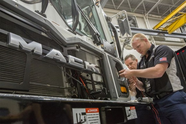 """Members of team """"Slackers"""" from CIT Trucks of Rockford, Ill., during the Mack Masters Competition. Photos: Mack Trucks"""
