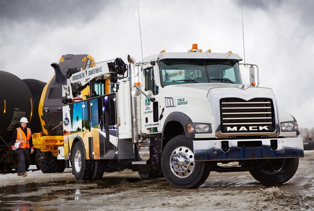 As a Class 7 truck, an MHD 4x2 avoids the 12% FET at buying time. This truck with a service body is one of two displayed in Mack's booth at the NTEA Work Truck Show in Indianapolis.