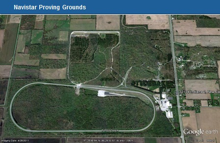 An ariel view of the New Carlisle proving grounds. Image via Navistar