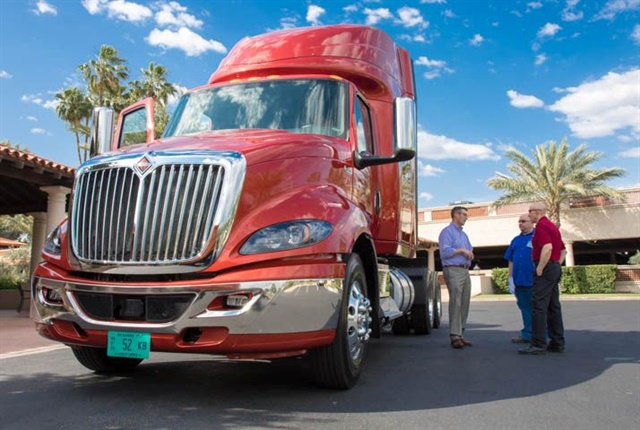 Attendees at HDT's Heavy Duty Trucking eXchange check out Navistar's new International RH model last month. Photo: Kareem Girgis