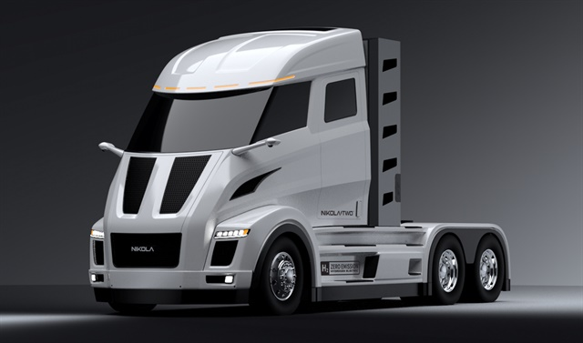 The Nikola Two daycab verison of the hydrogen electric truck. Photo: Nikola Motor Company