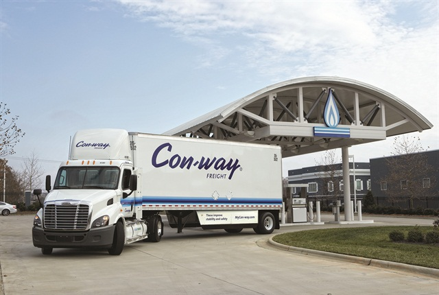 A new Freightliner Cascadia 113 day cab leaves a natural gas fueling station in Rock Hill, S.C. after taking on its first fill-up of compressed natural gas (CNG). Con-way Freight, one of the nation's leading commercial trucking firms, took delivery of the unit recently and is putting it into service in the Texas market. Featuring the Cummins Westport ISX 12 G natural gas-powered engine, it's Freightliner's first Cascadia 113 day cab with factory installed tanks to go into service.