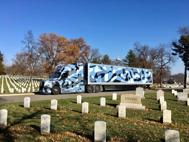 The new Freightliner Cascadia driven by Joey Slaughter in Arlington National Cemetery (photo courtesy of Freightliner)