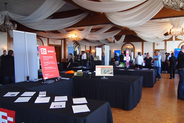 The exhibition hall featured booths from technology companies.