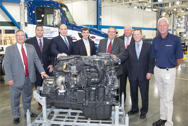 Representatives from AMG Peterbilt of Columbus, Kenan Advantage Group, Paccar Engines and Peterbilt Motors celebrated the production of the 100,000th Paccar MX-13 engine.