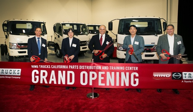 A ceremony marked the opening of Hino's parts distribution center in Ontario Calif. Photo: Hino Trucks