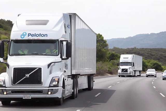 Peloton says trucks equipped with its latest platooning technology logged more than 1,000 miles in a series of tests in Florida earlier this month. Photo: Peloton