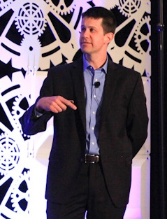 Matthew Pfaffenback, director of telematics, Daimler Trucks North America, speaks at the ALK Transportation Technology Summit May 5. (Photo courtesy of Able Communications)