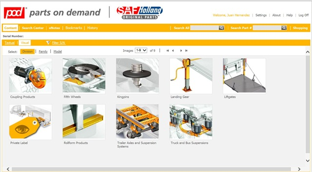The SAF Holland parts on demand page. Courtesy of SAF Holland