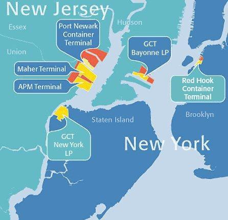 The terminals that make up the Ports of New York and New Jersey. Graphic via Ports of New York and New Jersey