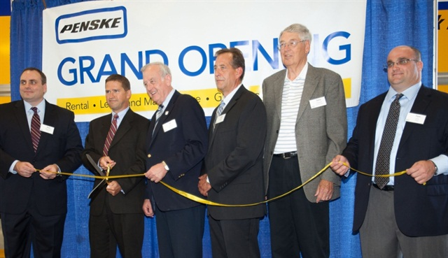 Taking part in a commemoration ceremony for a new Penske Truck Leasing facility in Davenport, Iowa, are from left to right: Paul Weisner, Penske Area Vice President; Dan O'Boyle, Penske Senior Vice President; Bill Gluba, Davenport Mayor; Sam Hubbs, Penske Branch Manager; Gene Meeker, Davenport Alderman at Large; Tom Leto, Penske District Manager. (PRNewsFoto/Penske Truck Leasing)