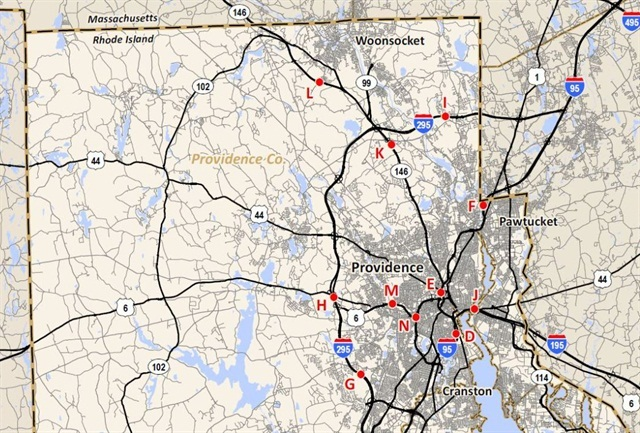 Map shows 11 of 14 proposed locations for truck-only tolls in Rhode Island. Image: RI DOT