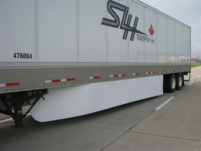 Tests show trailers with side skirts consumed almost 7% less fuel than trailer without skirts