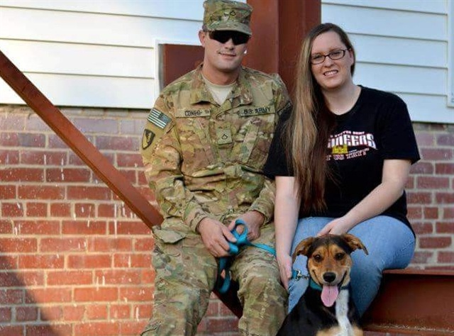 Road Warrior Kyle Cones, his wife, Brittney, and dog, Daisy: Photo: Pilot Flying J.