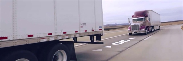 Peloton's two-truck driver-assisted platooning system uses a forward collision avoidance system and vehicle-to-vehicle communication to allow two trucks to travel closer together than would normally be safe, allowing for fuel economy savings for both vehicles. Photo: Peloton Technology