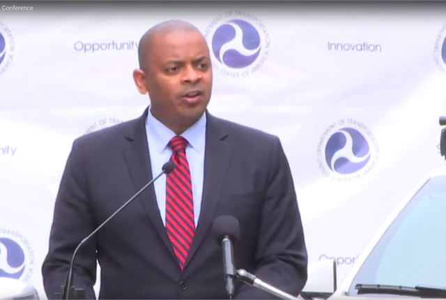 U.S. Transportation Secretary Anthony Foxx discusses new federal guidelines for autonomous vehicles during a Sept. 20 press conference. Screen shot courtesy of U.S. DOT.