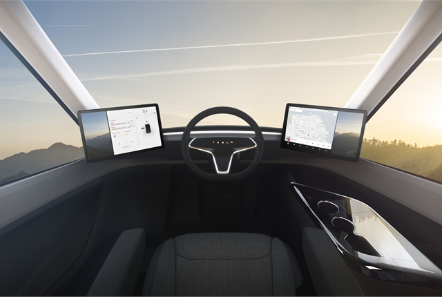There is no dash in front of the seat. There is no conventional transmission selector, either. Photo: Tesla