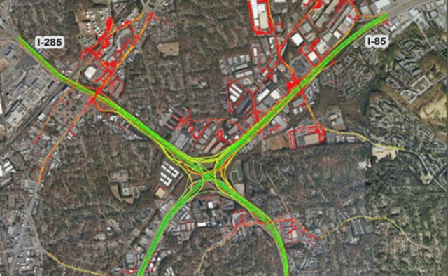 Atlanta's Spaghetti Junction and the surrounding congestion it causes were tracked by ATRI for its 2017 Top Truck Bottleneck List. Image via ATRI