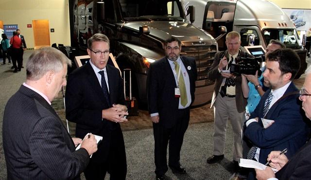 ATA president Chris Spear fielding reporters' queries on autonomous policymaking. Photo: Evan Lockridge