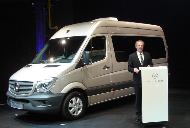 Volker Morningweg, head of Mercedes-Benz Vans, presents the new M-B-badged Sprinter.