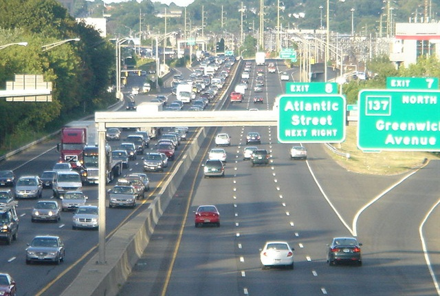 Northbound I-95 in Stamford, CT. Some lawmakers want to return tolls to I-95.