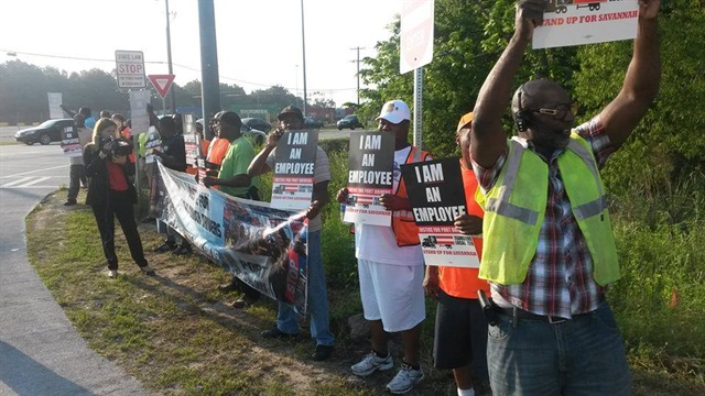 "Some port drivers in Savannah believe they are ""misclassified"" as independent contractors. Photo via Justice for Port Truckers."