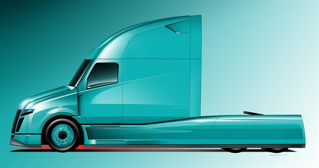 Artist rendering of Daimler's SuperTruck. Credit: DTNA