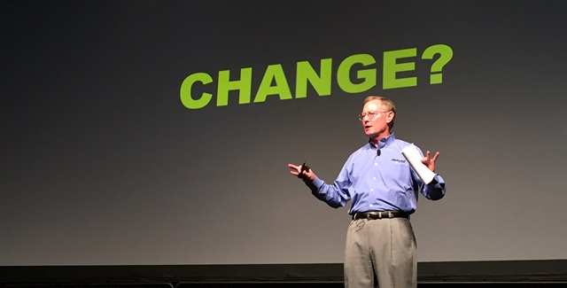 Tom McLeod talks change at the McLeod Software user conference. Photo: Deborah Lockridge