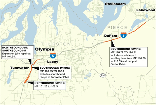 Map of the affected areas. Graphic via WSDOT.