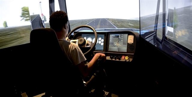 A Celadon Driving Academy student practices his driving skill on a TransSim simulator. Photo: Celadon