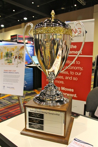 The ATA National Truck Driving Championships trophy on display during the group's annual convention in Orlando, Fla. Photo: Evan Lockridge