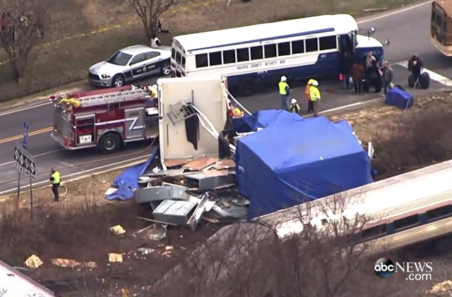 The scene of the crash in North Carolina. Screenshot from ABC News video