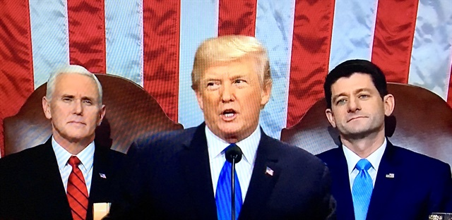 In his first State of the Union address, Presdient Trump said nothing about how to pay for his now $1.5 trillion infrastructure plan. Photo: TV screenshot