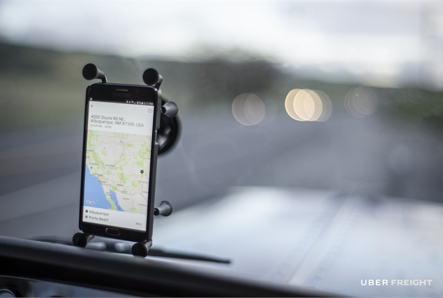 The Uber Freight app uses GPS to allow Uber to track what's going on with the load, and it helps prove to shippers when drivers arrived at a facility. Photo: Aether Films, courtesy Uber Freight