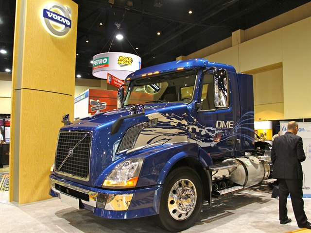 Volvo's DME-powered truck on display at the ATA Management Conference & Exhibition earlier this month. Photo: Evan Lockridge