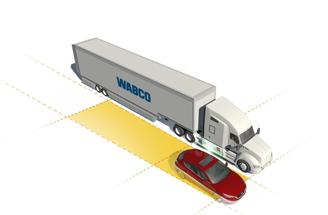 Wabco OnSide alerts drivers to a moving vehicle in a truck's blind spot and provides a side collision warning to help reduce the risk of accidents. Image: Wabco