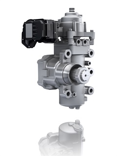 ZF's ReAx steering system mounts to a truck steering column and provides steering assistance based on real-time driver needs. Photo: ZF Group
