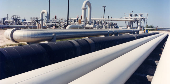 Crude oil pipes at the Strategic Petroleum Reserve's Bryan Mound site near Freeport, Texas.