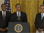 President Obama nominated Charlotte, N.C., Mayor Anthony Foxx (left) to be the next U.S. Secretary of Transportation. Foxx will replace outgoing Transportation Secretary Ray LaHood (right). Photo courtesy of the U.S. DOT's Fast Lane blog.