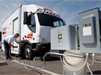 Photo of Frito-Lay electric truck charging at Clipper Creek charging station, courtesy of Clipper Creek
