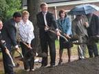 Gov. Rell and state officials break ground at the North Haven service plaza on July 19.