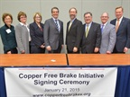 The signing ceremony for the Copper Free Brake Initiative. Photo courtesy of MEMA.
