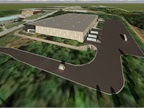 A digital rendering of the new facility shows its overall size and