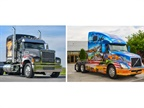 Ride for Freedom themed trucks from Mack (left) and Volvo. Photos: Mack Trucks and Volvo Trucks