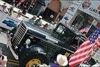 CAT Scale's 1938 Kenworth crosses the finish line in Pasadena, Calif.