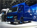 The Fuso eCanter shown at IAA displays a little more pizazz for the show, including a redesigned interior showcasing connectivity functions. Photo: Deborah Lockridge