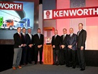 From left are Kyle Hoffman, Jason Skoog, Kenworth assistant general manager for sales and marketing; MHC Kenworth executives Jeff Murphy, Tim Spurgeon, Ken Hoffman, Mike Murphy, and Tim Murphy; and Preston Feight, Kenworth general manager and PACCAR vice president. Photo via Kenworth