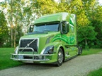 "The Zelten's green Volvo VNL 730, nicknamed ""Kermit."" Photo: Volvo Trucks"