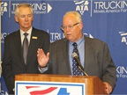 Duane Long speaks to the trucking press Tuesday following his being named ATA's new chairman. Photo by Evan Lockridge.